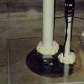 This picture shows the correct way Avanty Construction seals a sump pit.