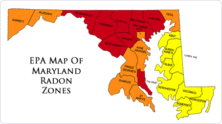 EPA Map of MD Radon Zones